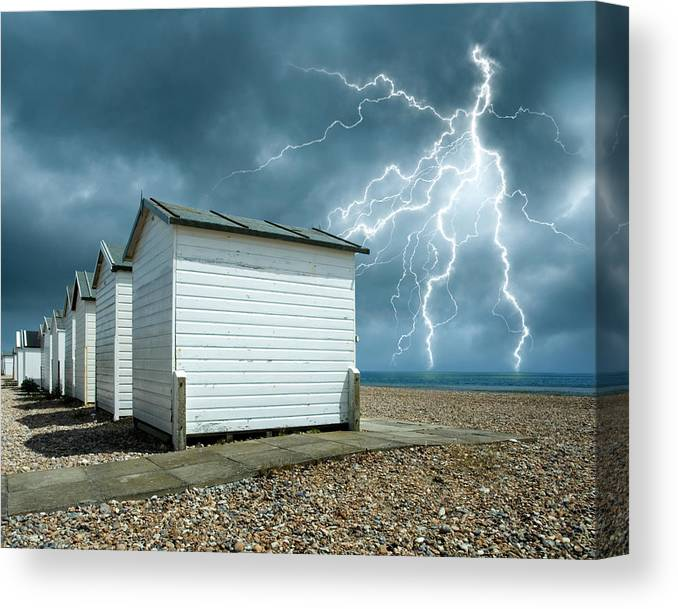 Water's Edge Canvas Print featuring the photograph Calm Before The Storm by Blackbeck