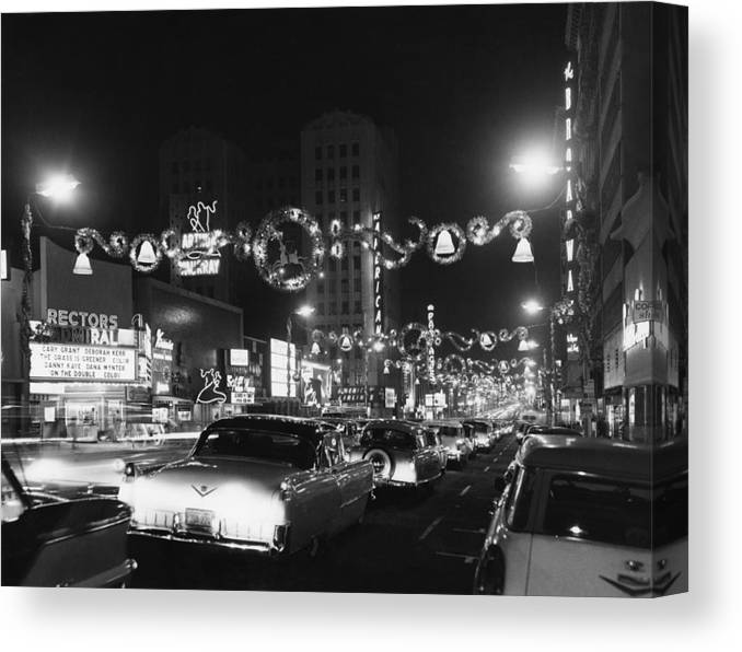 Hollywood Boulevard Canvas Print featuring the photograph Christmas In Hollywood by American Stock Archive
