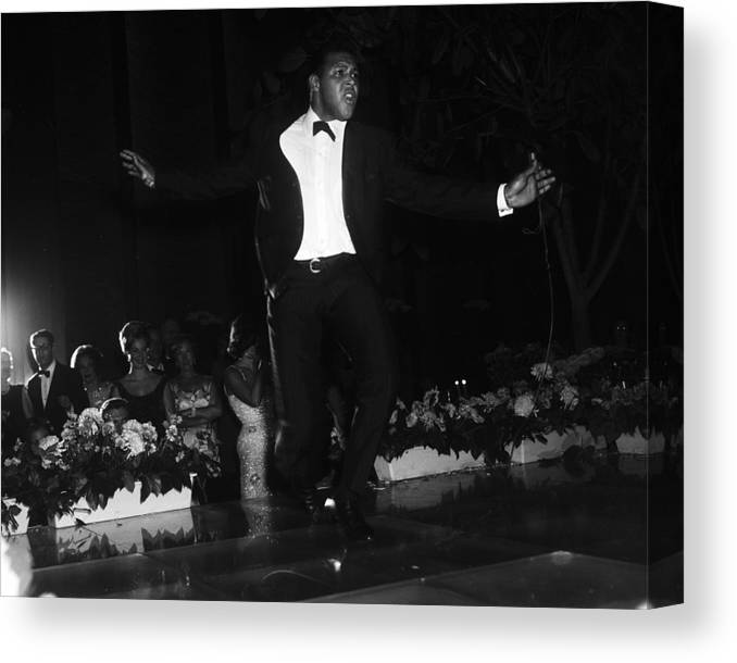 Charity Benefit Canvas Print featuring the photograph Chubby Checker Demonstrates The Twist by Bert Morgan