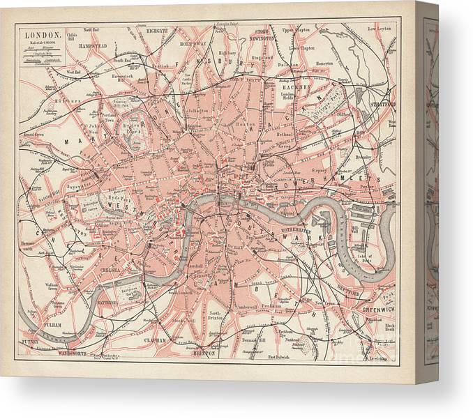 Downtown District Canvas Print featuring the digital art City Map Of London, Lithograph by Zu 09