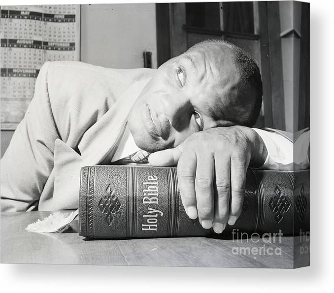 Thank You Canvas Print featuring the photograph Close-up Of Joe Walcott Resting On Bible by Bettmann