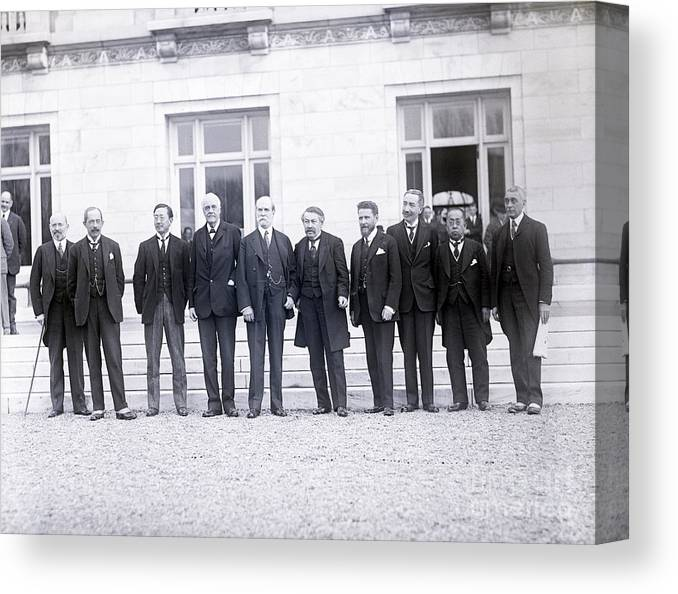 Mature Adult Canvas Print featuring the photograph Delegates Attending Conference by Bettmann