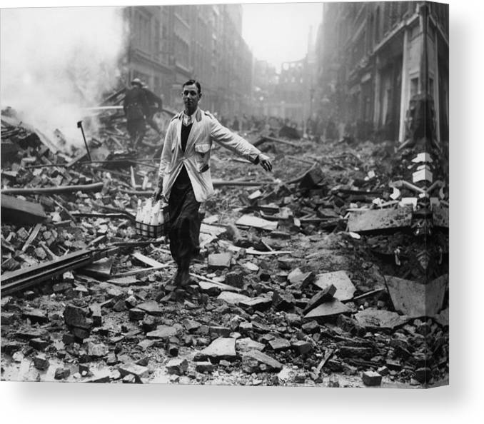 Milk Canvas Print featuring the photograph Delivery After Raid by Fred Morley