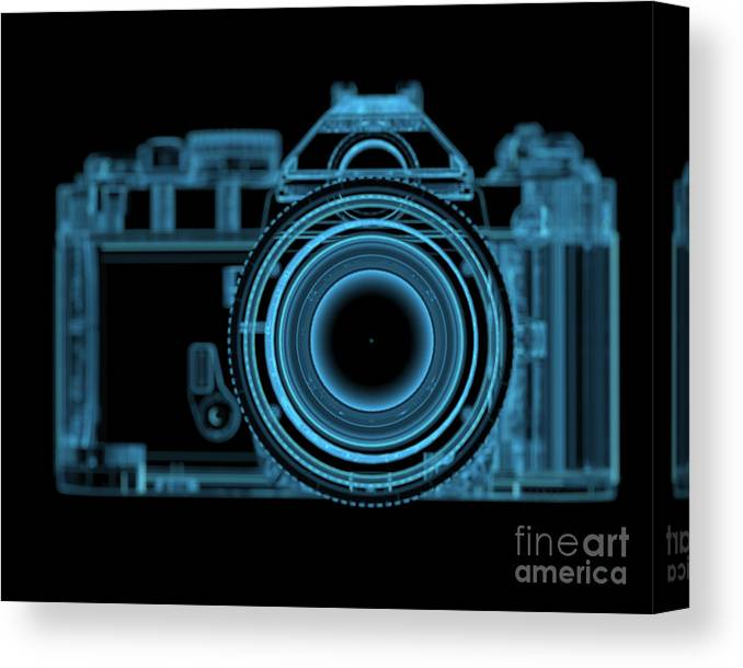 Eyesight Canvas Print featuring the digital art Dslr Slr Camera 3d Xray Blue Transparent by X-ray Pictures