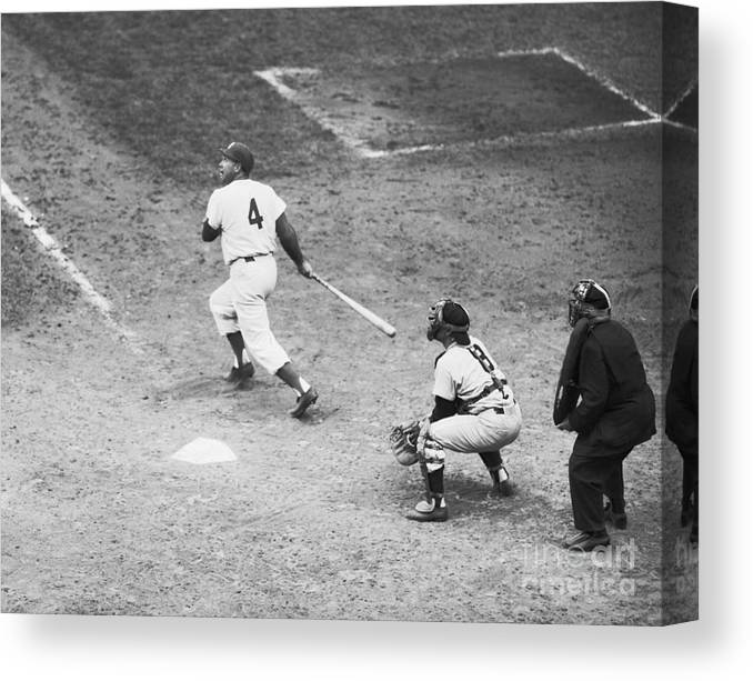 People Canvas Print featuring the photograph Duke Snider Batting At Home Plate by Bettmann