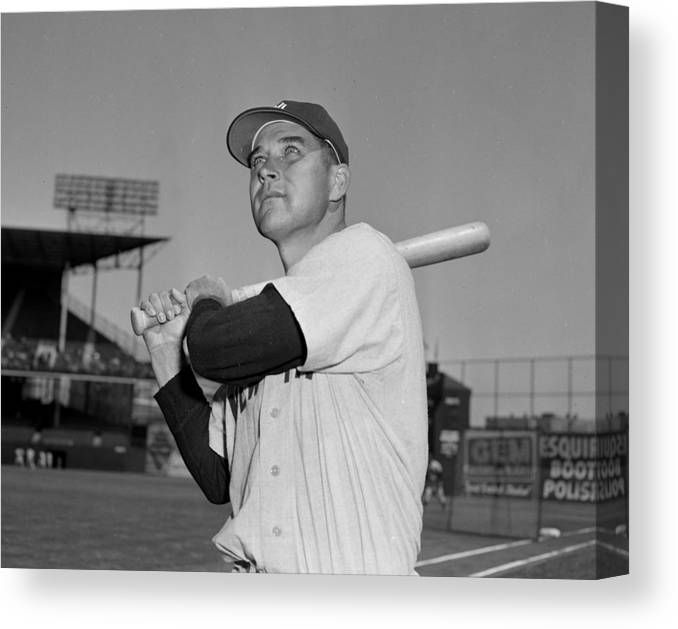 American League Baseball Canvas Print featuring the photograph Eddie Robinson by New York Daily News