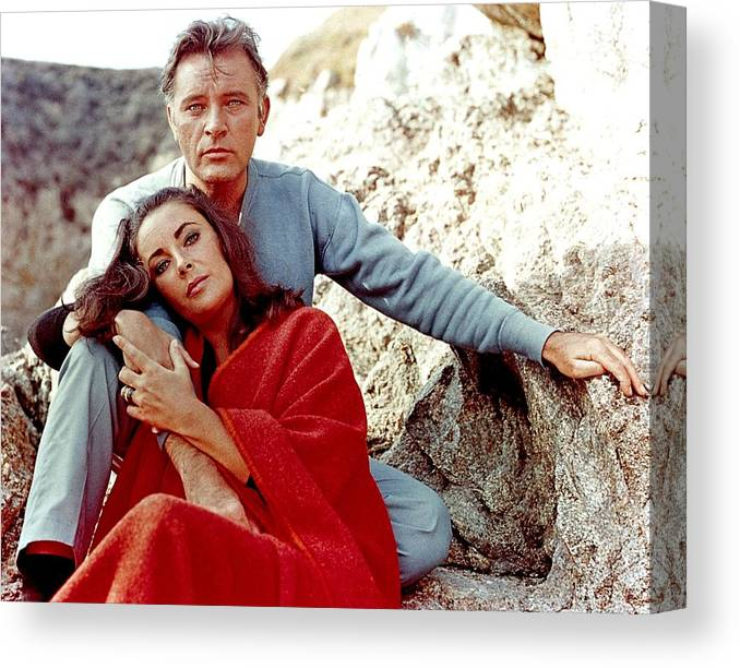 Actor Canvas Print featuring the photograph Elizabeth Taylor And Richard Burton On by Api