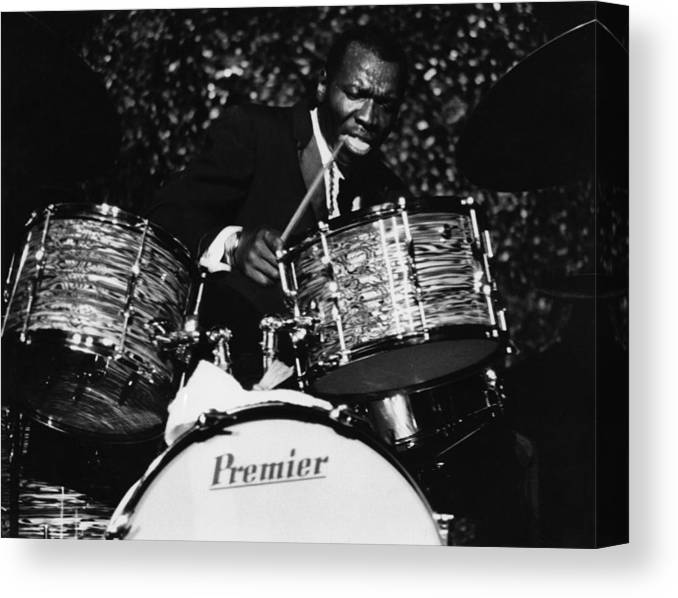Concert Canvas Print featuring the photograph Elvin Jones On Drums by David Redfern