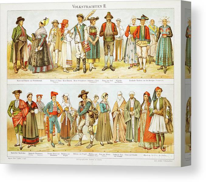 Engraving Canvas Print featuring the digital art European Costumes Lithograph 1897 by Thepalmer