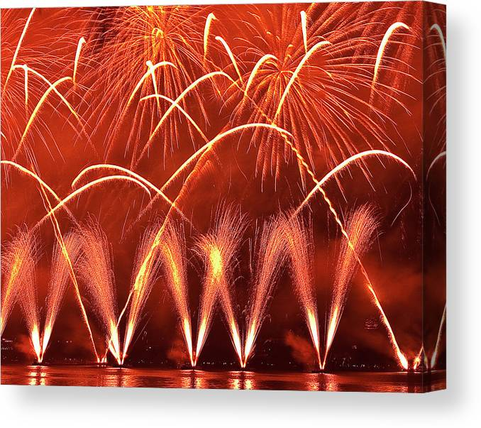 Firework Display Canvas Print featuring the photograph Fireworks Over West Lake, Hangzhou by William Yu Photography