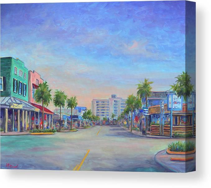 Folly Beach Canvas Print featuring the painting Folly Beach Center Street by Jeff Pittman
