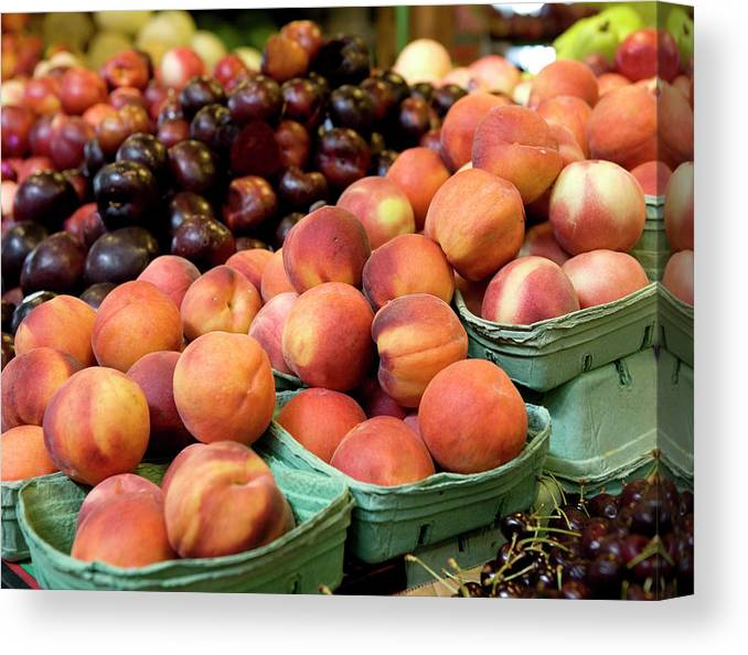 Cherry Canvas Print featuring the photograph Fresh Peaches At Organic Market by Lillisphotography