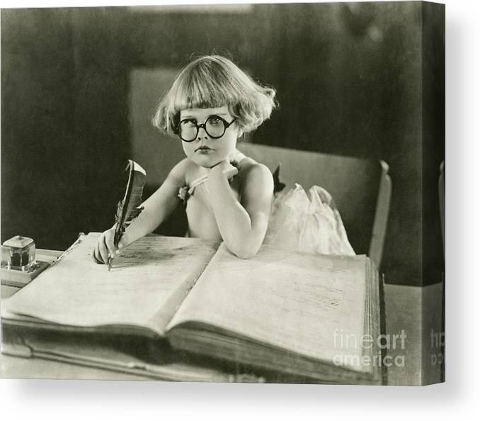 Innocence Canvas Print featuring the photograph Future Writer by Everett Collection