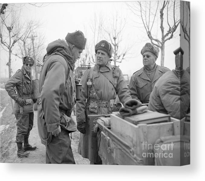 Mature Adult Canvas Print featuring the photograph General Matthew Ridgway Conferring by Bettmann