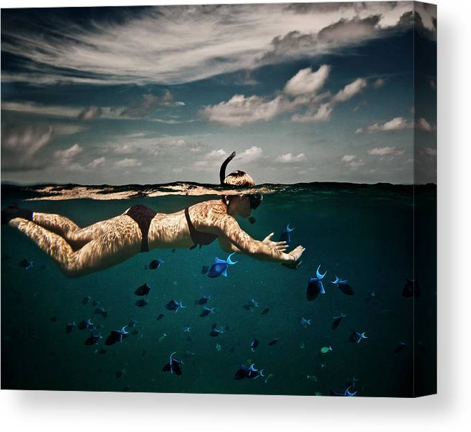 People Canvas Print featuring the photograph Girl Snorkelling In Indian Ocean by Rjw