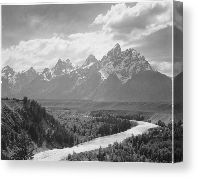 Snow Canvas Print featuring the photograph Grand Teton by Buyenlarge