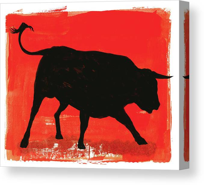 Bull Market Canvas Print featuring the digital art Graphic Bull Illustration by Don Bishop