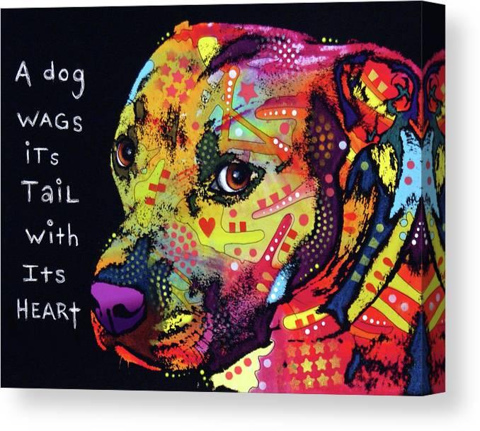 Gratitude Pitbull Canvas Print featuring the photograph Gratitude Pitbull by Dean Russo