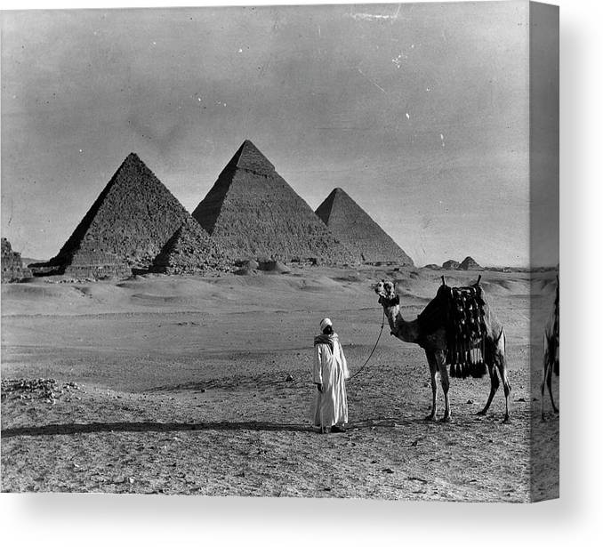 1950-1959 Canvas Print featuring the photograph Great Pyramids Of Egypt by American Stock Archive