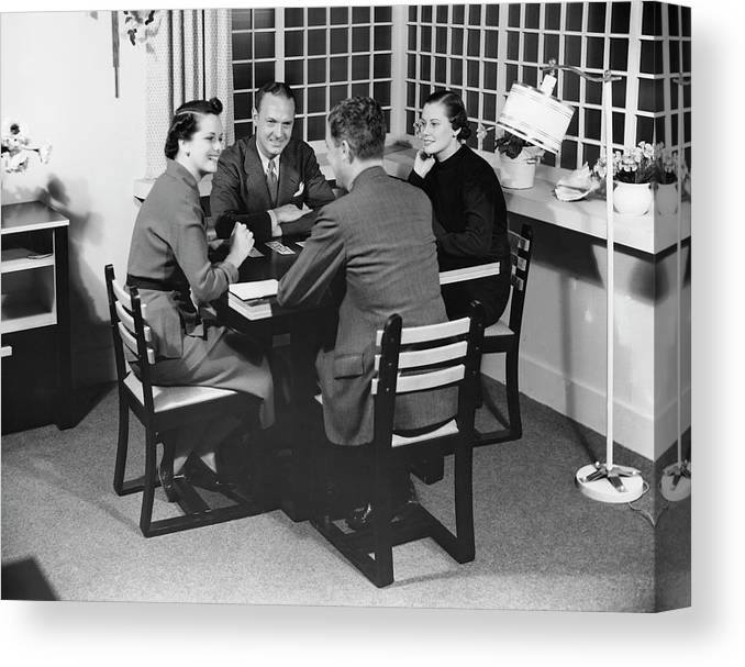 Heterosexual Couple Canvas Print featuring the photograph Group At A Table by George Marks