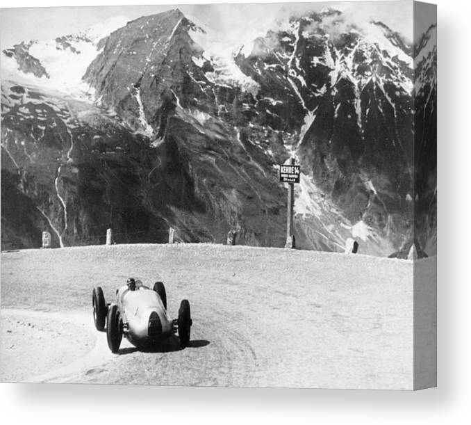 Country And Western Music Canvas Print featuring the photograph Hermann Muller In An Auto Union, German by Heritage Images