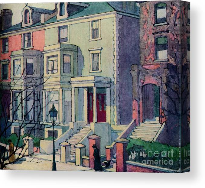 Row House Canvas Print featuring the drawing Houses In Sunlight, Hampstead, C20th by Print Collector