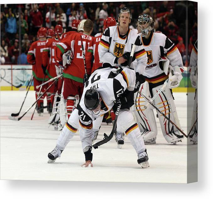 Defeat Canvas Print featuring the photograph Ice Hockey - Day 9 - Germany V Belarus by Bruce Bennett