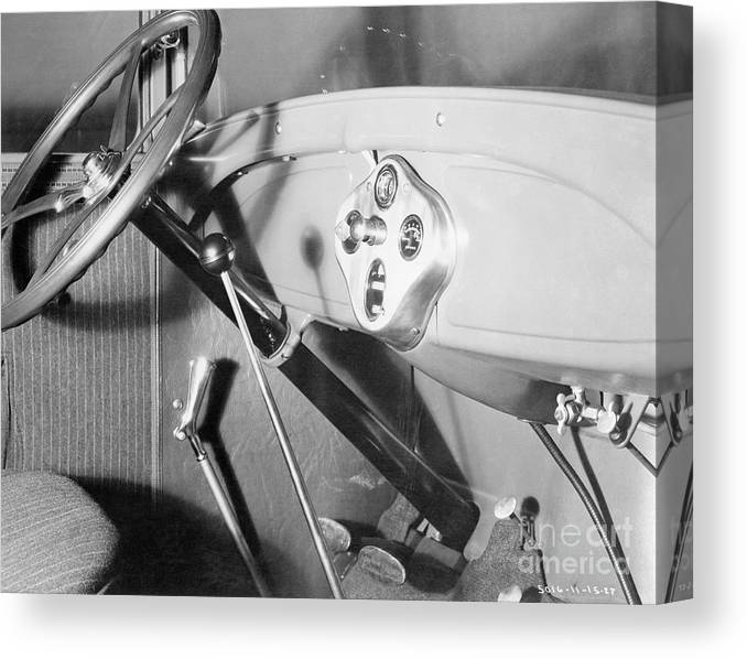 Finance And Economy Canvas Print featuring the photograph Interior Of 1928 Ford Automobile by Bettmann