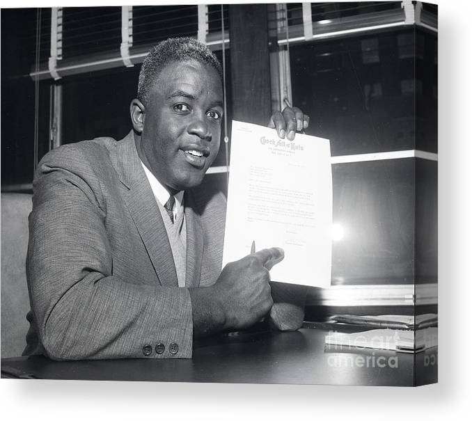 People Canvas Print featuring the photograph Jackie Robinson Retires 1957 by Transcendental Graphics