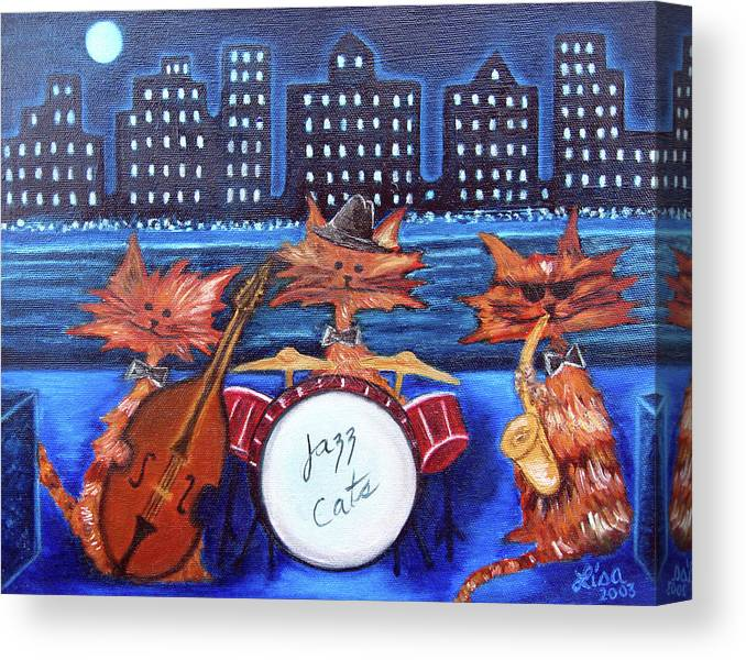 Cats Canvas Print featuring the painting Jazz Cats by Lisa Lorenz