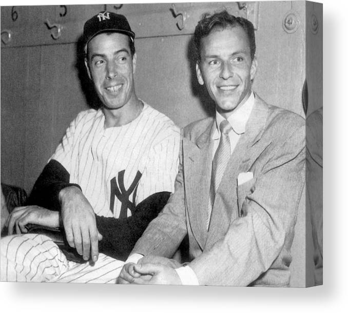 American League Baseball Canvas Print featuring the photograph Joe Dimaggio And Frank Sinatra At by New York Daily News Archive