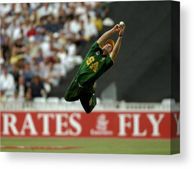 England Canvas Print featuring the photograph Jonty Rhodes Of South Africa by Adrian Murrell