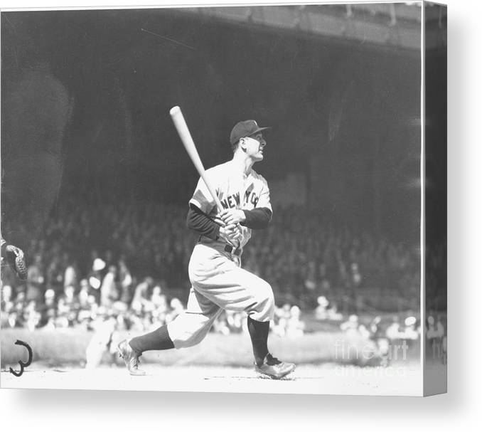 People Canvas Print featuring the photograph Lou Gehrig by Louis Van Oeyen/ Wrhs