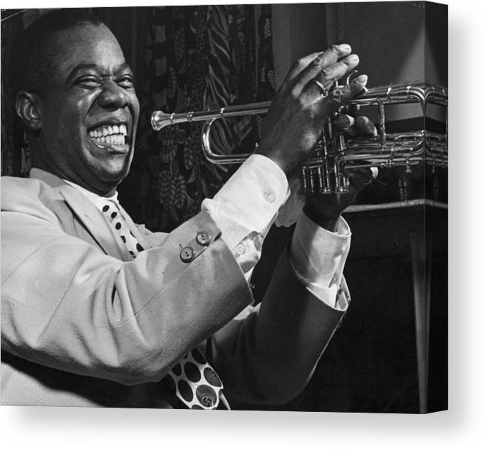 Art Print Poster Canvas Louis Armstrong Holding Trumpet