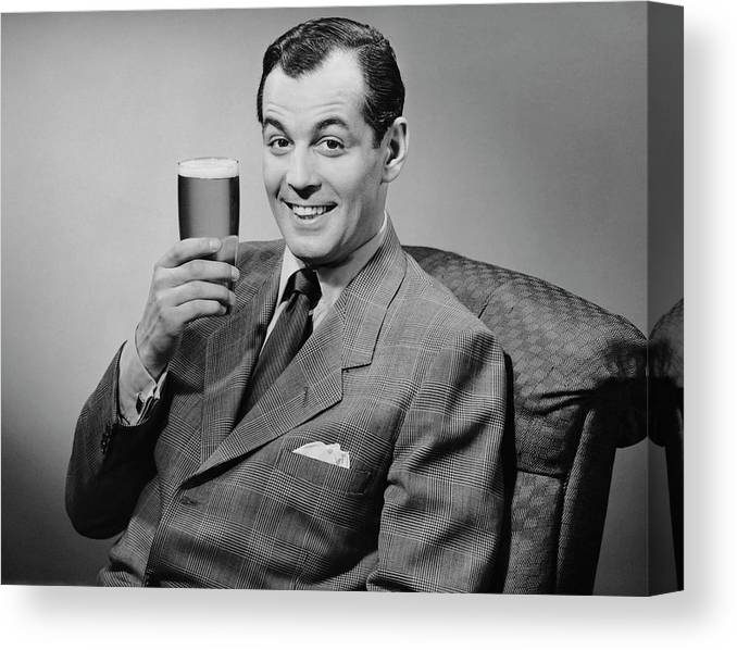 Mature Adult Canvas Print featuring the photograph Man Sitting & Having A Beer by George Marks