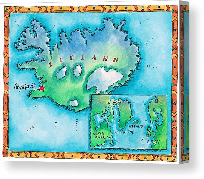 Watercolor Painting Canvas Print featuring the digital art Map Of Iceland by Jennifer Thermes