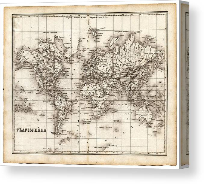 Oceania Canvas Print featuring the digital art Map Of The World 1842 by Thepalmer