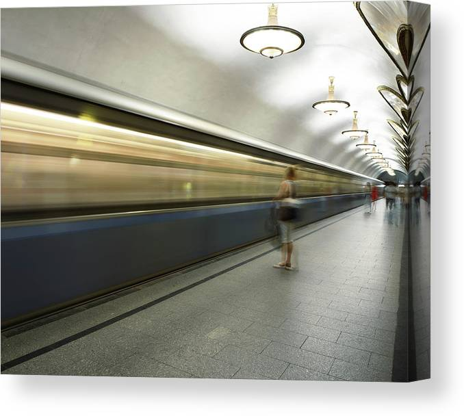 People Canvas Print featuring the photograph Moscow Metro by Fmajor