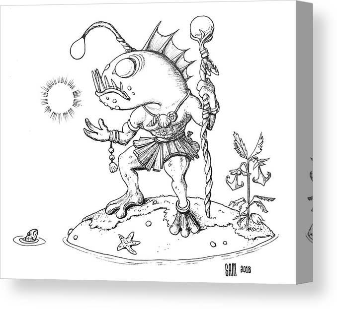 Murloc Canvas Print featuring the drawing Murloc by Sami Matilainen