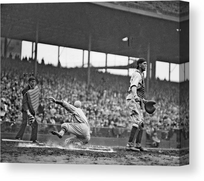 People Canvas Print featuring the photograph New York Giants Baseball Player Sliding by Chicago History Museum