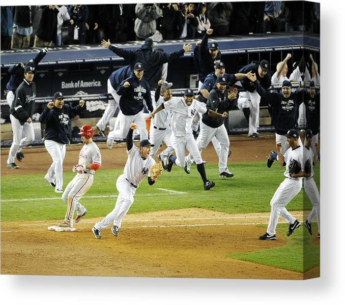American League Baseball Canvas Print featuring the photograph New York Yankees Mark Teixeira Makes by New York Daily News Archive