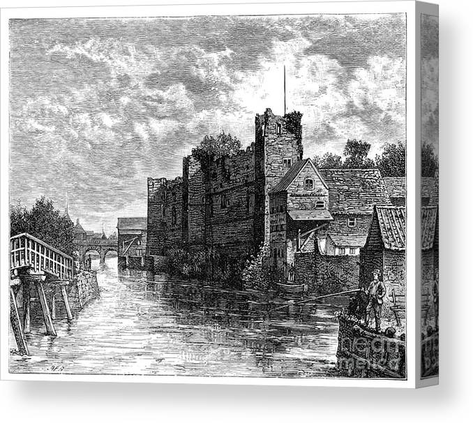 Nottinghamshire Canvas Print featuring the drawing Newark Castle And The River Trent by Print Collector