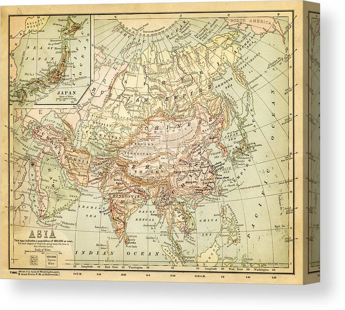 Burnt Canvas Print featuring the digital art Old Map Of Asia by Thepalmer