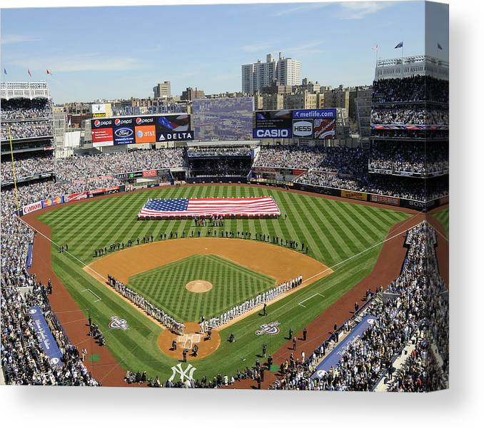 American League Baseball Canvas Print featuring the photograph Opening Day Yankee Stadium. New York by New York Daily News Archive