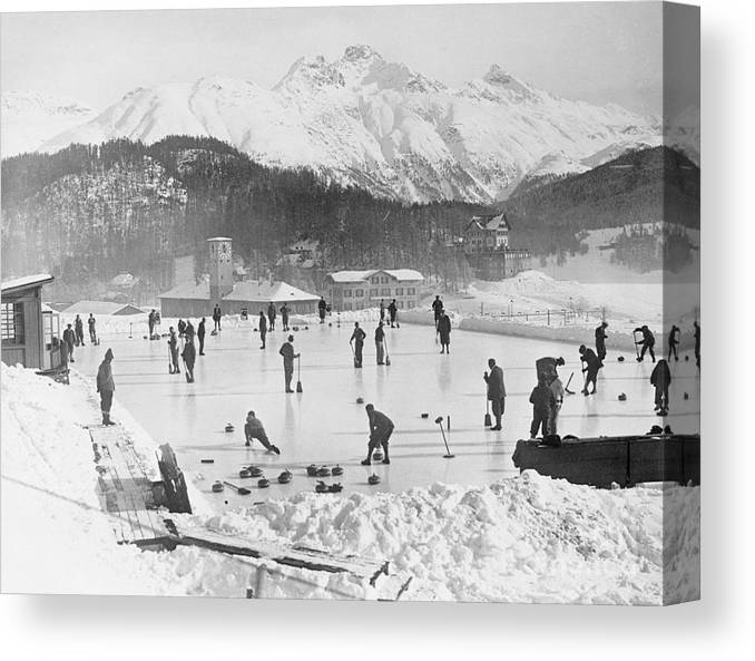 People Canvas Print featuring the photograph People Enjoying Curling Rink by Bettmann