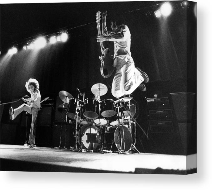 Music Canvas Print featuring the photograph Photo Of Who And Roger Daltrey And Pete by David Redfern