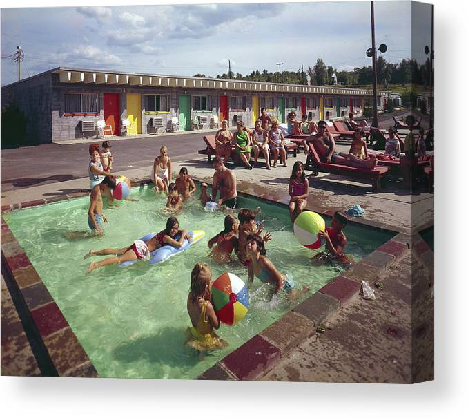 Recreational Pursuit Canvas Print featuring the photograph Poolside Fun At Arca Manor by Aladdin Color Inc
