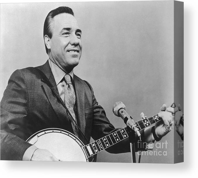 People Canvas Print featuring the photograph Portrait Of Earl Scruggs Playing Banjo by Bettmann