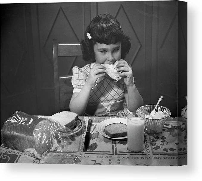 Milk Canvas Print featuring the photograph Portrait Of Little Girl Eating Buttered by George Marks
