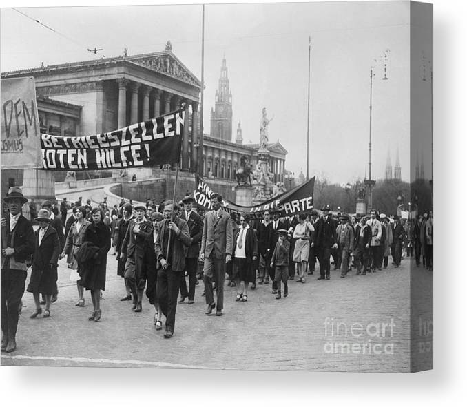 People Canvas Print featuring the photograph Processiondemonstration On May-day by Bettmann